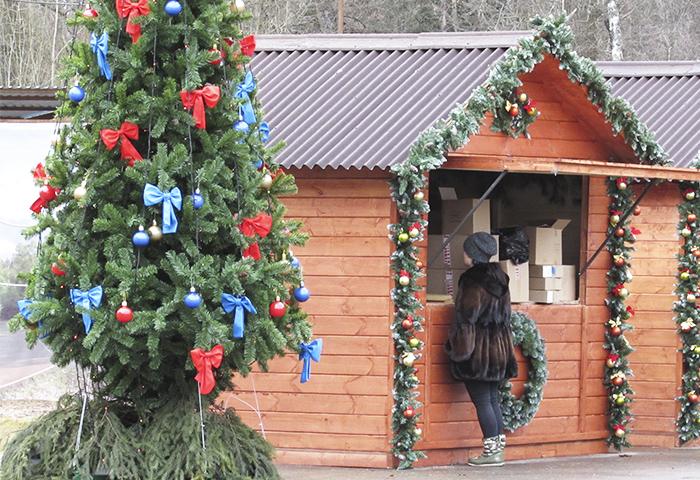 установка ярмарочных павильонов на лыжероллерной трассе Героя России Ларисы Лазутиной