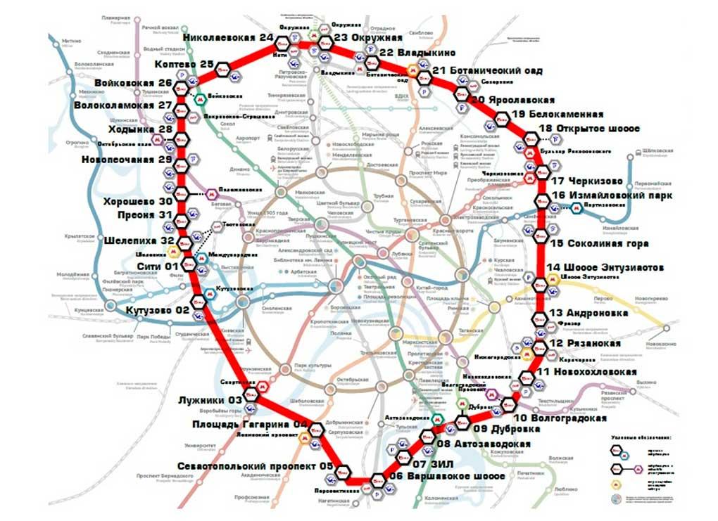 Karta Moskovskogo Centralnogo Kolca