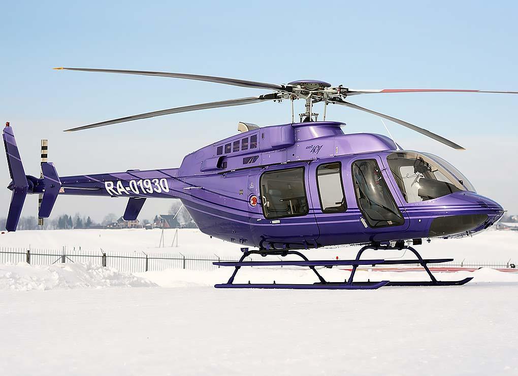 Bell-407 - максимальная скорость - 200 км. / ч. Дальность полёта: 500 км. Вместимость: 5 человек. Экипаж: 1 человек.