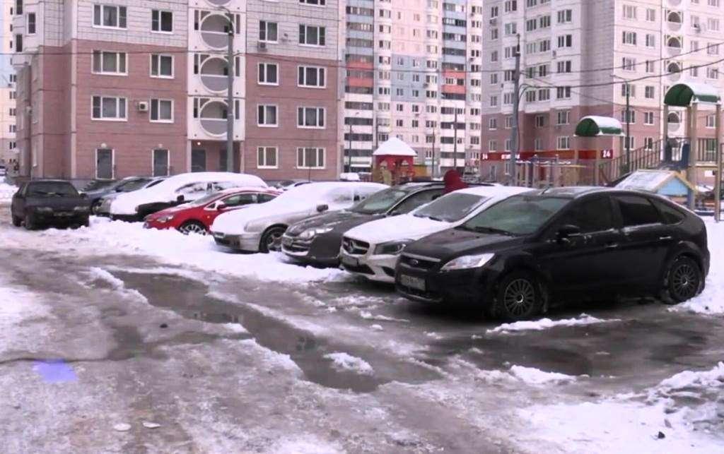 парковка одинцово зима