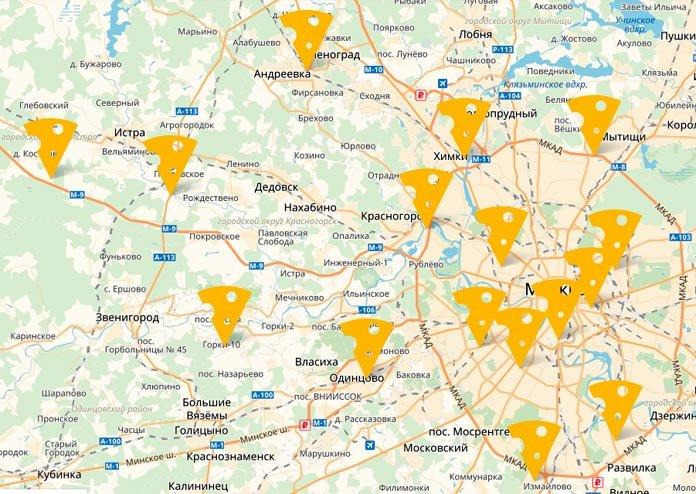 Карта расположения магазинов Русский пармезан