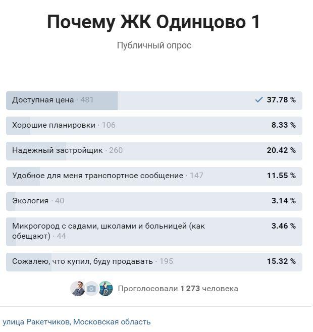 Опрос - Почему ЖК Одинцово-1