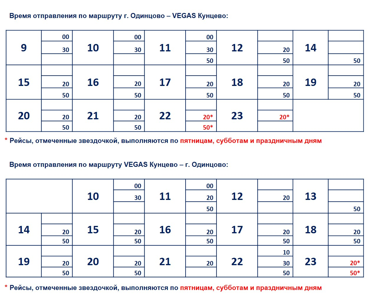 Расписание маршрутки Вегас Кунцево - Одинцово