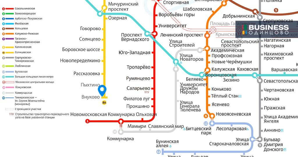 "Станция метро ""Внуково"" на карте московского метрополитена"