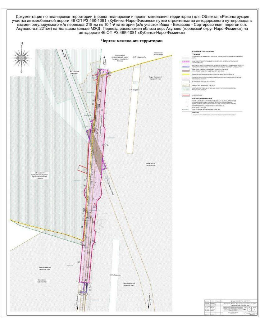 Проект планировки и межевания территории под реконструкцию автомобильной дороги Кубинка — Наро-Фоминск в Одинцовском районе